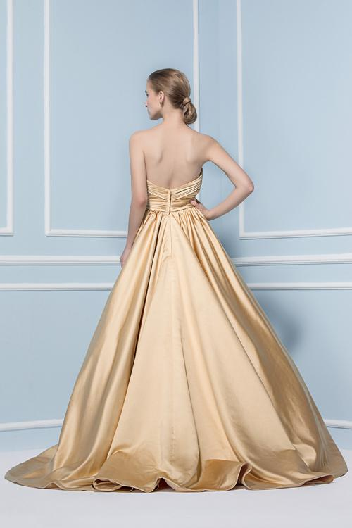 Ball Gown Strapless Ruching Long Puffy Satin Bridesmaid Dress