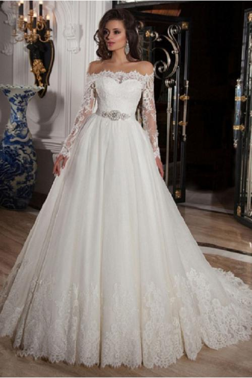 Satin Off-the-shoulder Wedding Dresses With Lace From Aisle Style ...