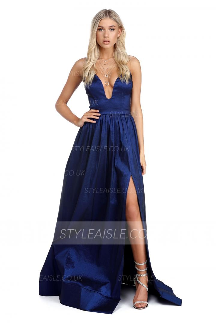Navy Blue Long Deep V Neck Prom Dress A-line
