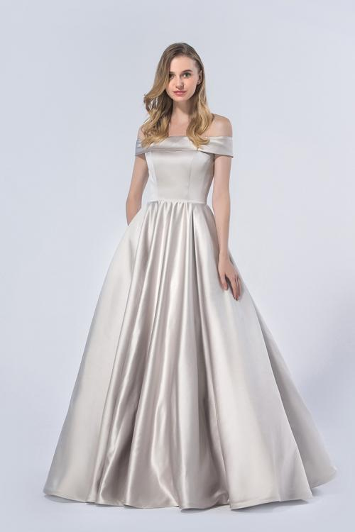 Princess Off-the-shoulder Floor-length Silver Bridesmaid Dress