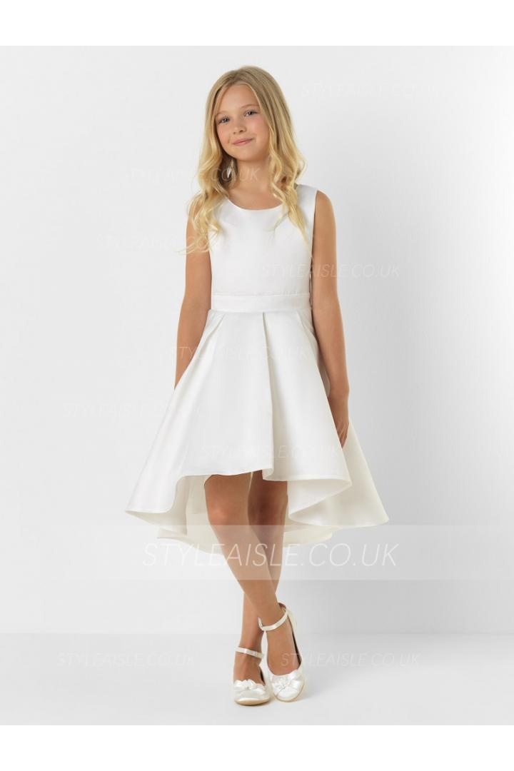 High Low Sleeveless Pleated Princess Satin FLower Girl Dress