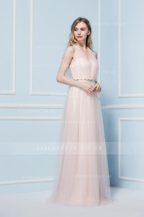 Blush A-line V-neck Sleeveless Crystal Detailing Floor-length Long Bridesmaid Dress