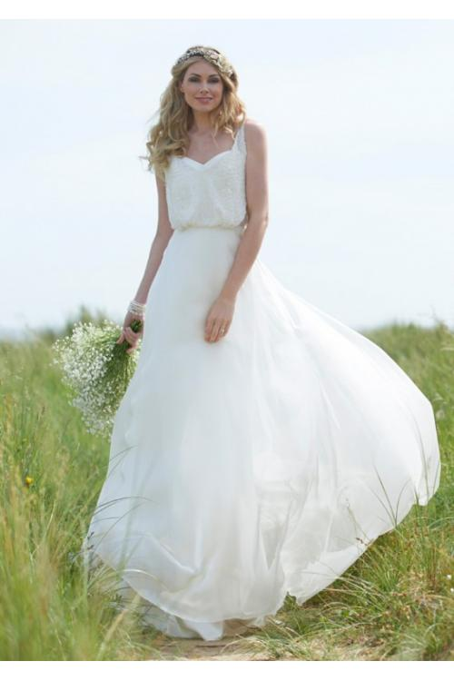 Simple A-line Shoudler Strap Long Chiffon Wedding Dress