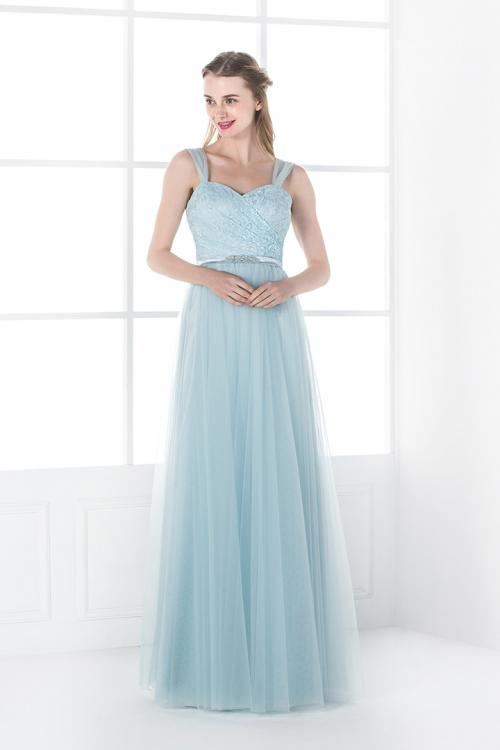 Shoulder Strap Lace Bodice Long Tulle Bridesmaid Dress