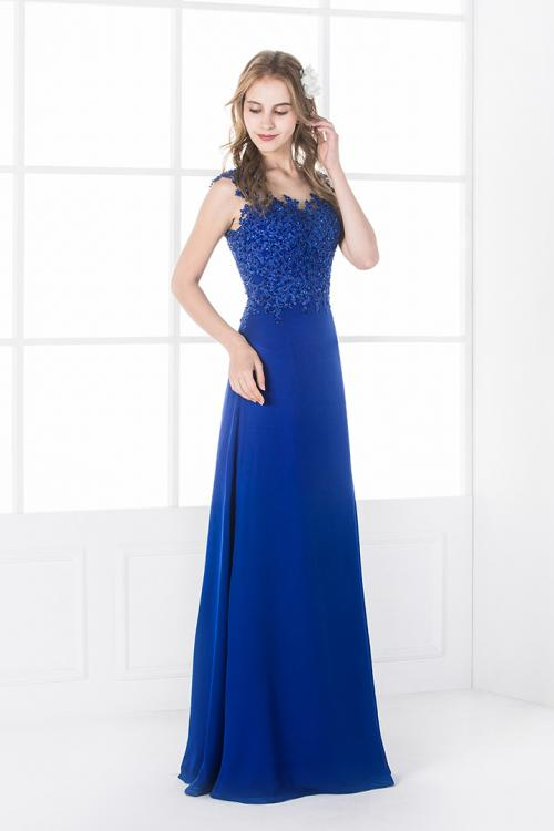 Illusion Neck Sequin Lace Long Royal Blue Chiffon Prom Dress