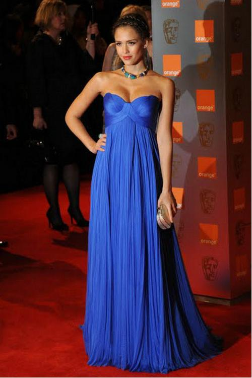 Jessica Alba Empire A-line Strapless Long Chiffon Pleated Dark Royal Blue Prom Dress