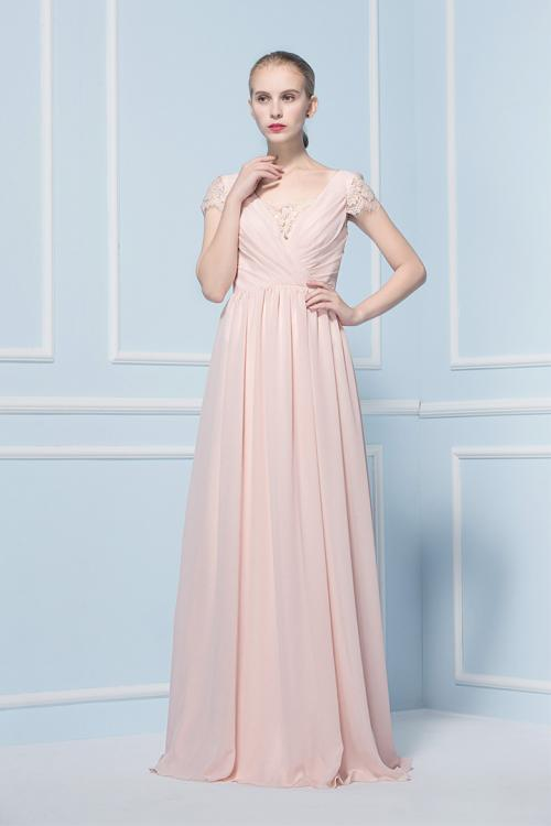 A-line Chiffon Floor-length Cap Sleeve Zipper Bridesmaid Dresses