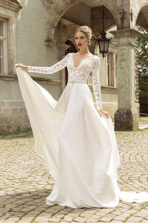 Vintage Modest Long Sleeve A-line Satin Wedding Dress with Crystal Waist