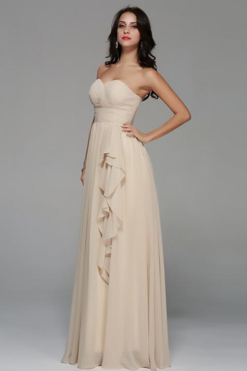 Strapless Sweetheart Long A-line Ruching Chiffon Junior Prom Dress