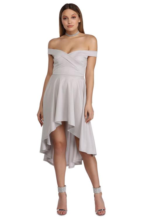 High Low Pleated Off Shoulder Silver Satin Prom Dress