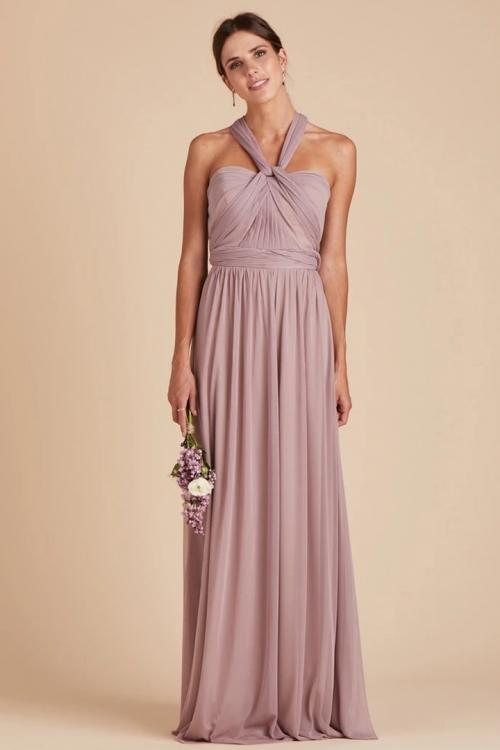 Simple A-line Halter Neckline Sleeveless Floor-length Long Chiffon Bridesmaid Dresses