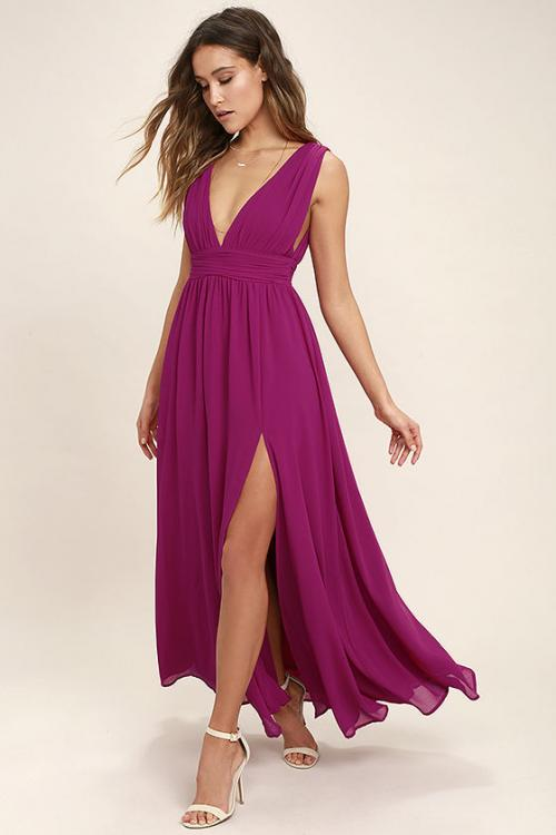 Deep V Neck Sleeveless A-line Long Fuchsia Chiffon Bridesmaid Dress