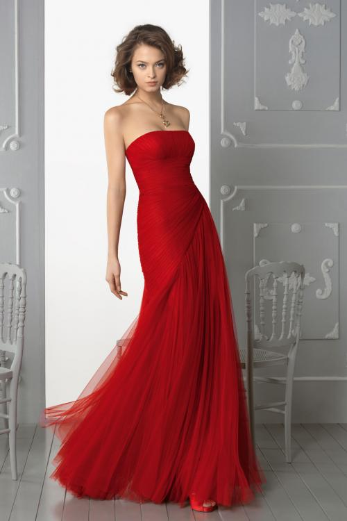 Trumpet/Mermaid Strapless Sleeveless Cascading Ruffles Floor-length Tulle Prom Dresses