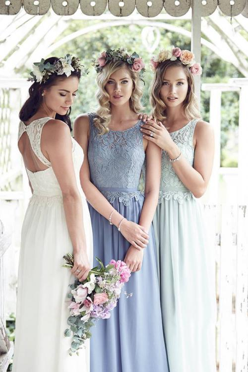 Vinatge Inspired Keyhole Back Long Chiffon Bridesmaid Dress