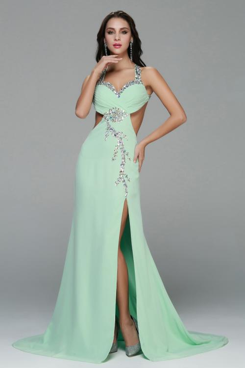Sexy Halter Neck Beading Long A-line Chiffon Slit Front Prom Dress