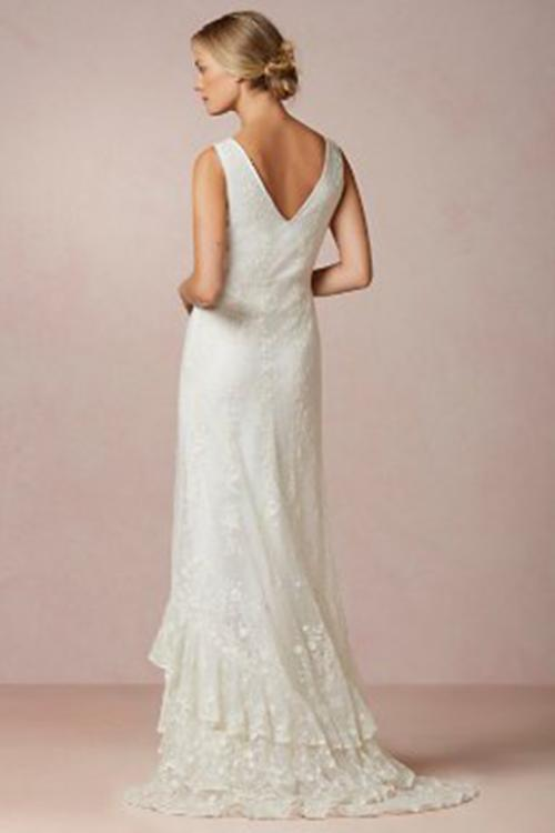 Trumpet/Mermaid V-neck Sleeveless Lace Ruffles Sweep/Brush Train Long Wedding Dresses