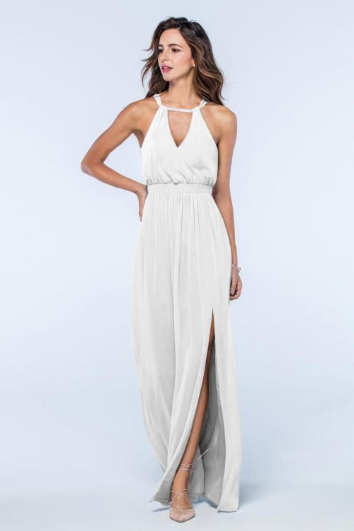 A-line Halter Neckline Sleeveless Split Floor-length Long Chiffon Bridesmaid Dresses