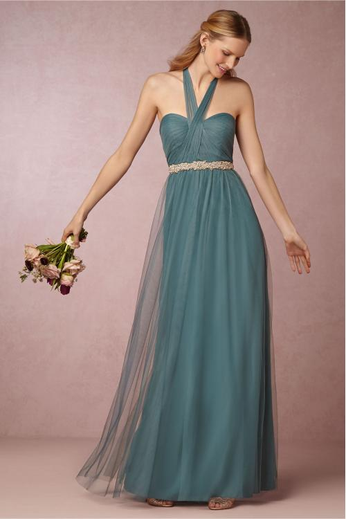 Hater Neck Emerald Green Tulle Pleated Vintage Bridesmaid Dress with Crystal Band