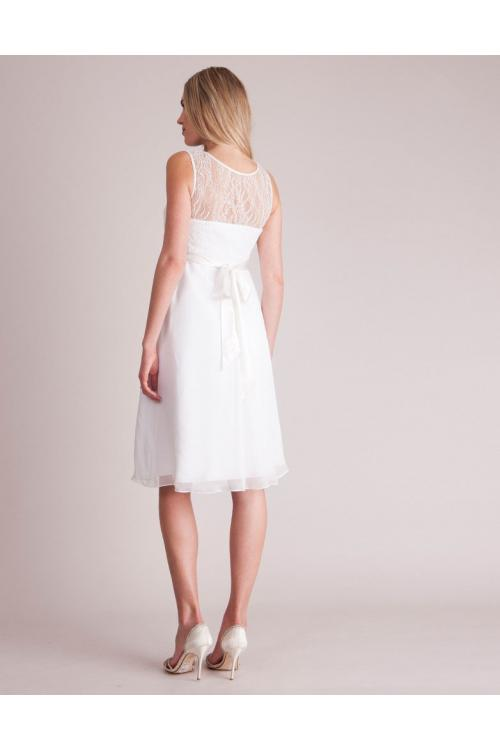 Bateau Neck Sleeveless Lace Bodice Knee-length Short Ivory Chiffon Maternity Dresses