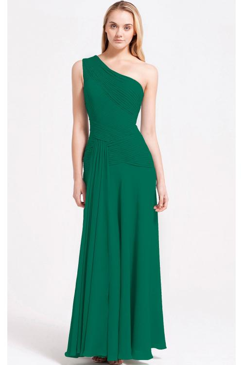 Zipper A-line Sleeveless Floor-length One Shoulder Bridesmaid Dresses