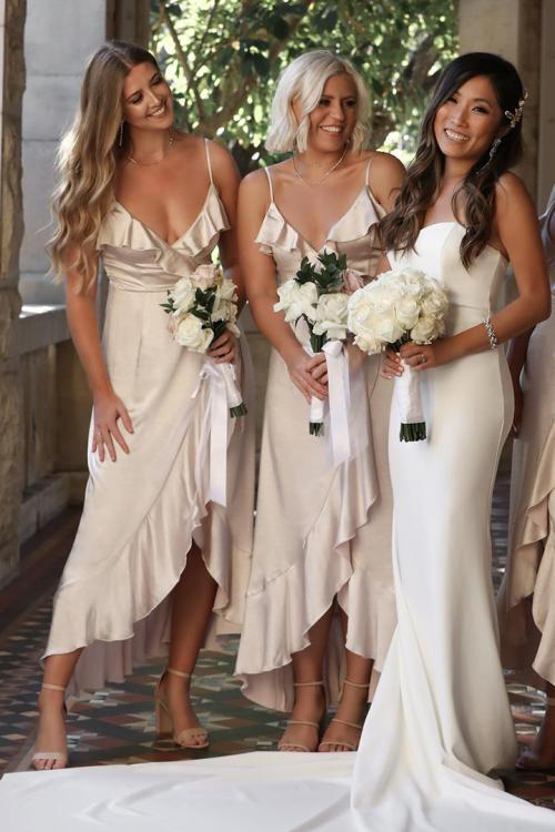 V-neck Sleeveless Ruffles Asymmetrical/High Low Long Charmeuse Bridesmaid Dress