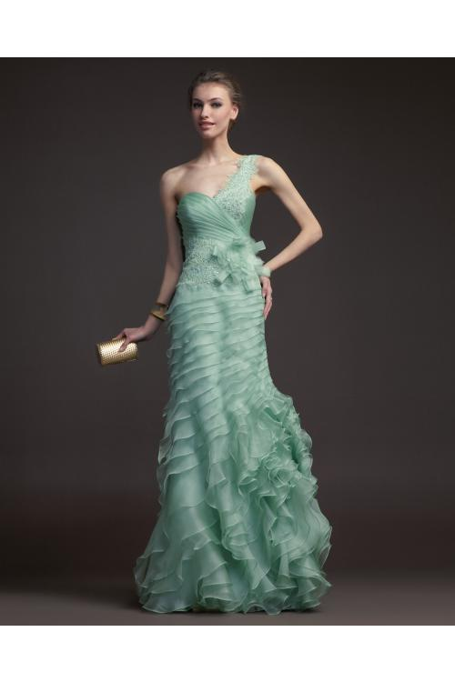 Charming Sheath/Column One Shoulder Cascading Ruffles Lace Sequins Floor-length Satin Organza Prom Dresses
