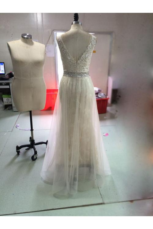 V Neck Long Tulle overlay Lace Prom Dress with Beading Belt