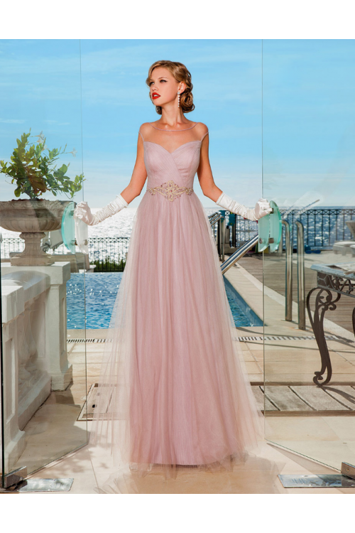 Cap Sleeve Illusion NecklineBlush Tulle Long Cap Sleeve Evening Dress