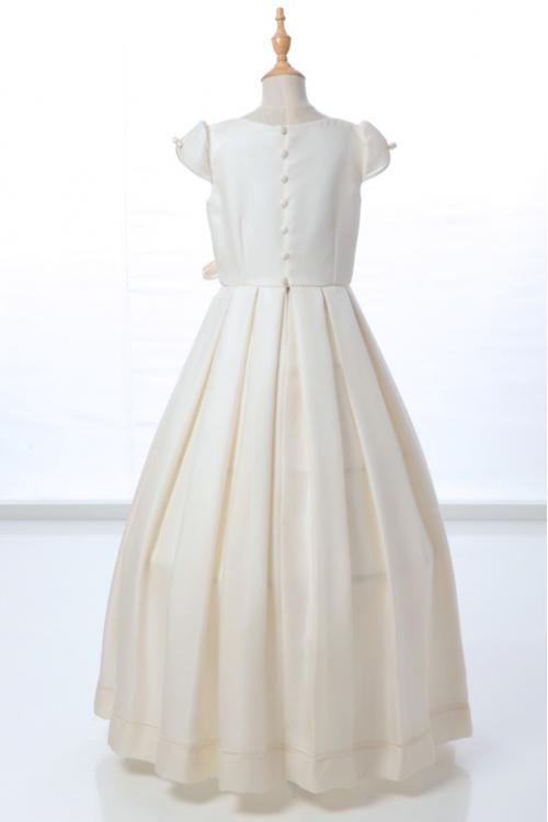 A-line Jewel Neck Short Sleeve Bow(s) Pearl Detailing Floor-length Long Communion Dresses