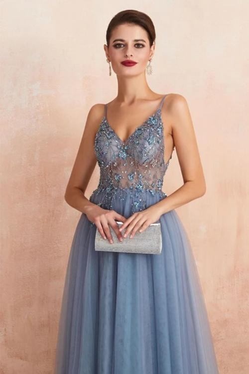 A-line V-neck Sleeveless Beading Split Floor-length Long Tulle Prom Dress