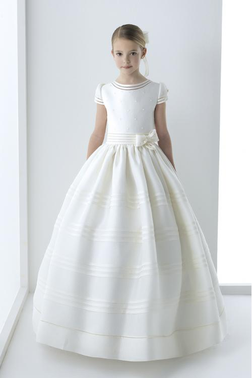 Short Sleeves Pearl Beaded Top Ball Gown Organza First Holy Communion Dress