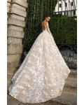 Gorgeous Lace Embroidery Long Princess Blush Wedding Dress with Long Sleeves