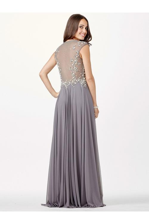 Illusion Bateau Neck Sparkling Beaded Bodice A-line Chiffon Prom Dress