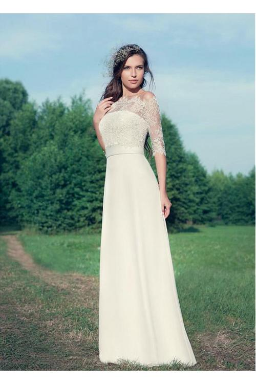 3/4 Sleeve Lace Off Shoulder A-line Chiffon Wedding Dress