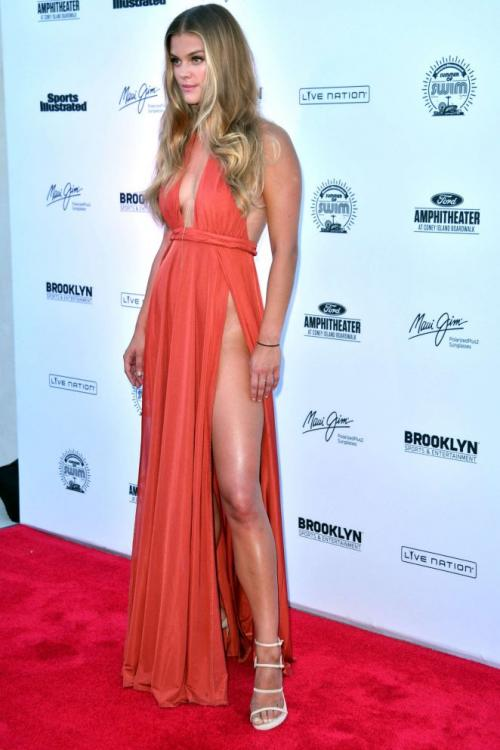 Sexy Nina Agdal Inspired Long Orange Red Split High Long Chiffon Prom Dress