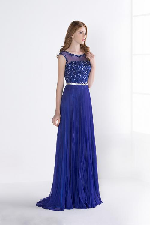 Royal Blue Sleeveless Beading A-line Long Chiffon Prom Dress