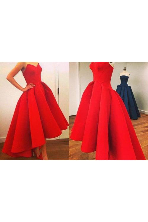 Red Princess High Low Pleated Satin Prom Dress
