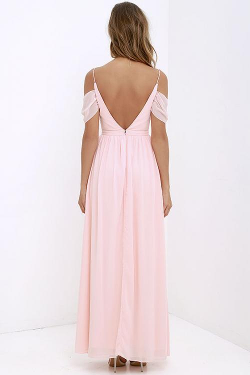 Spaghetti Straps Pleated Long Chiffon Bridesmaid Dress
