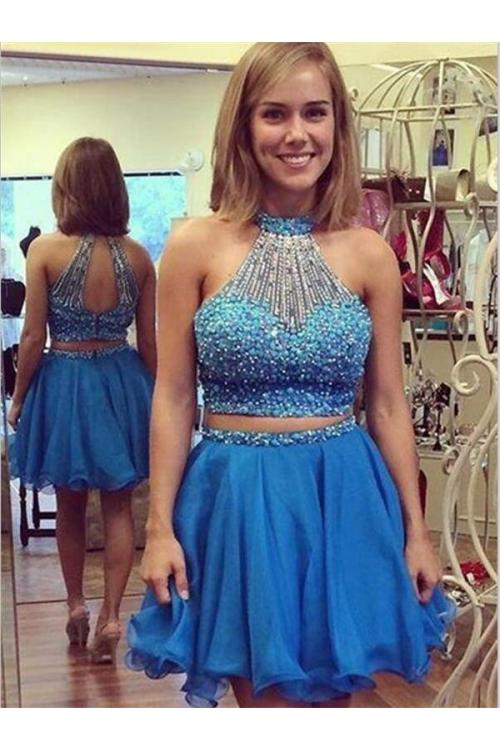 Chic Halter Beading Neck Short Chiffon Prom Dress