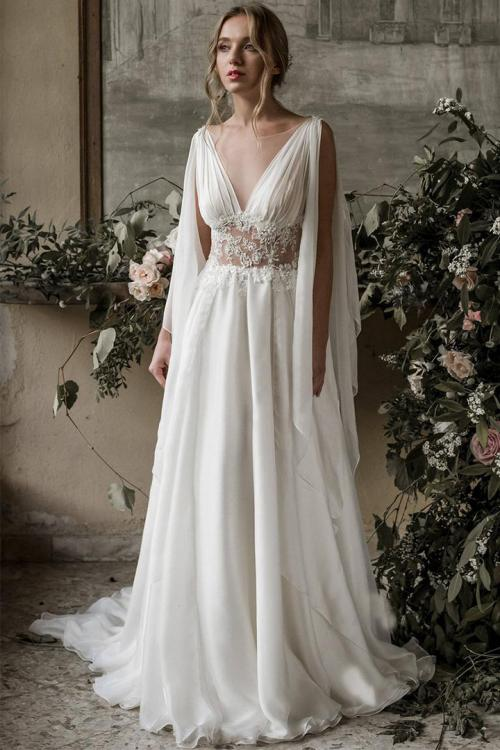 Sexy A-line Illusion Neck Sleeveless Lace Appliques Sweep Train Long Chiffon Wedding Dresses