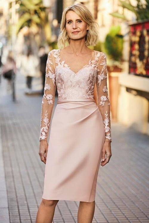 Sheath/Column V-neck Illusion Long Sleeves Lace Knee-length Short Satin Mother of the Bride Dresses with Buttons Back