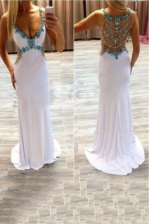 V Neck Beading Long White Chiffon Prom Dress