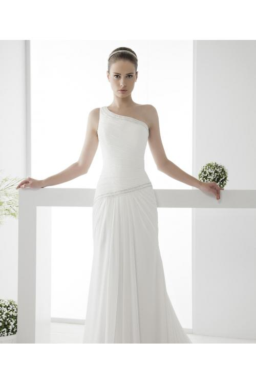 Simple Sheath/Column One Shoulder Beading Sweep/Brush Train Chiffon Wedding Dresses