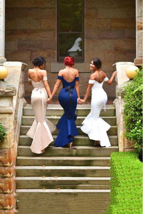 Trumpet/Mermaid Mermaid Off-the-shoulder Tea-length Satin Bridesmaid Dress