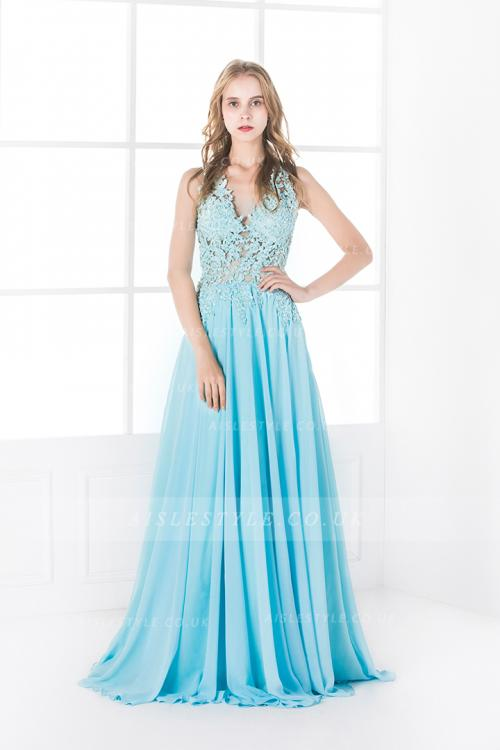 Sexy Sleeveless A-line Keyhole Back Blue Lace Chiffon Prom Dress with Slit