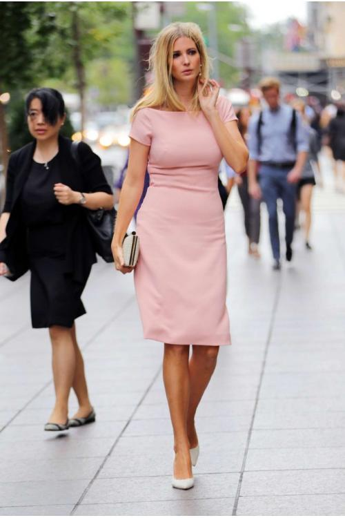 Ivanka Trump Short Sleeve Knee Length Elegant Peach Dress