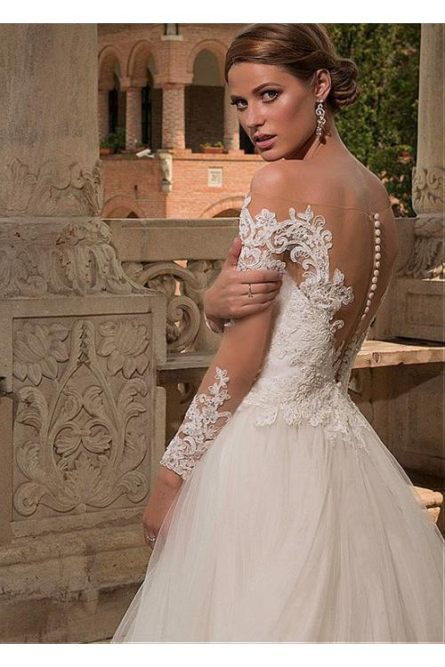 Long Sleeve Off Shouder Illusion Tulle Wedding Dress with Full Back