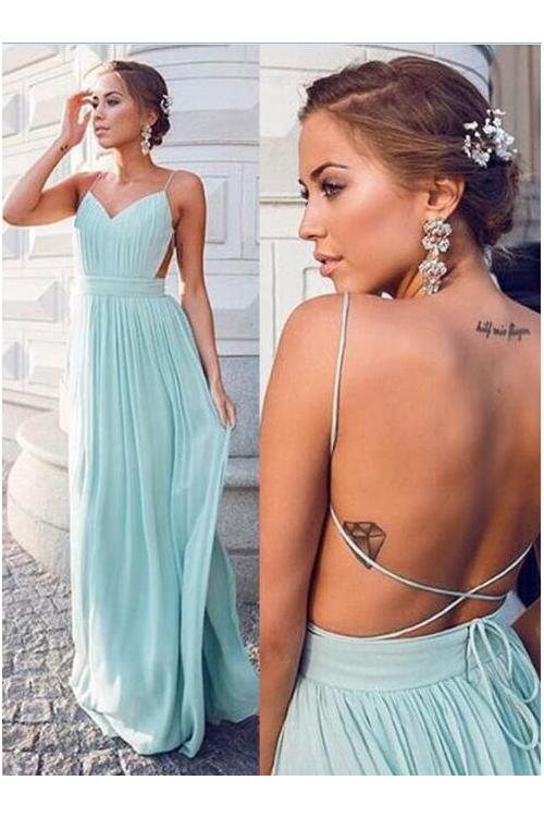 Mint Spaghetti Straps Long A-line Backless Long Chiffon Celebrity Prom Dress