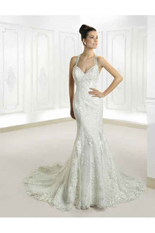 Honorable Trumpet/Mermaid Halter Beading&Crystal Lace Sweep/Brush Train Wedding Dresses
