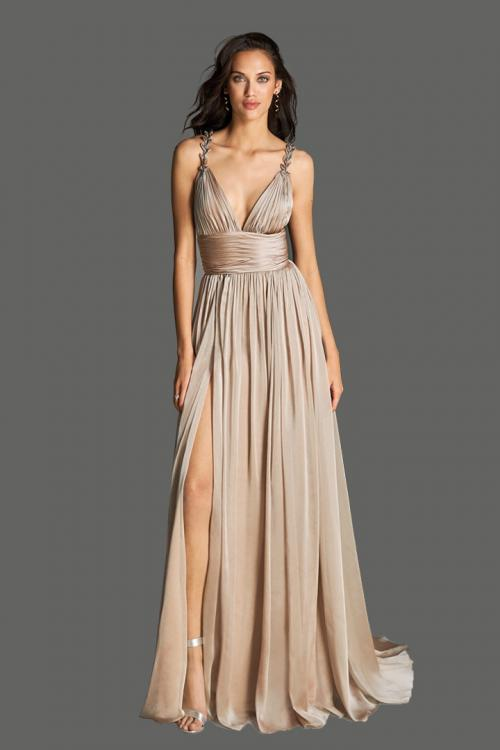 A-line V-neck Shoulder Appliques Split Sweep Train Long Chiffon Cocktail Dresses with Ruching Empire Waist